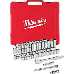 3/8 -inch Drive SAE/Metric Ratchet and Socket Mechanics Tool Set (56-Piece)