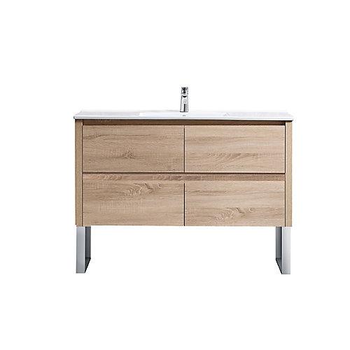 Lennard 48 inch Natural Wood Vanity Bathroom Cabinet