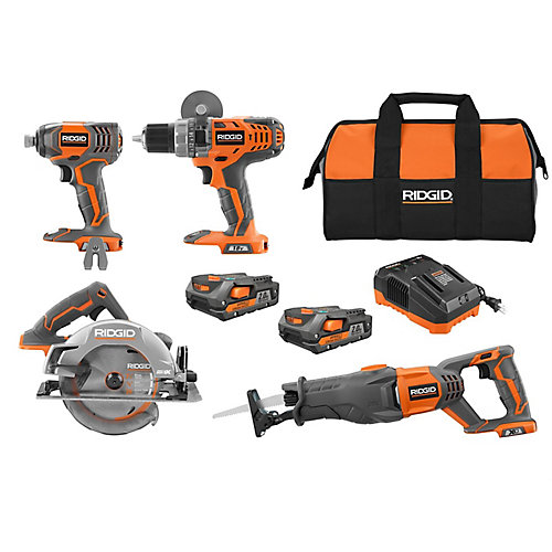 18V Lithium-Ion Cordless Combo Kit (4-Tool) w/ (2) 2.0 Ah Batteries, 18V Charger & Contractor's Bag
