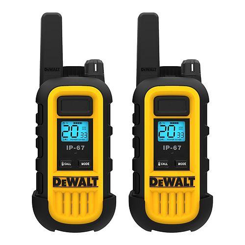 DEWALT 250,000 Sq. ft. FRS/GMRS Heavy Duty 1 Watt Two-Way Radio Set - Two Pack