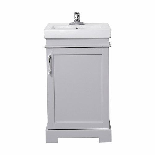 Meuble-lavabo de 50,8cm(20po) avec miroir Hallcrest de la collection Home Decorators, gris tourterelle