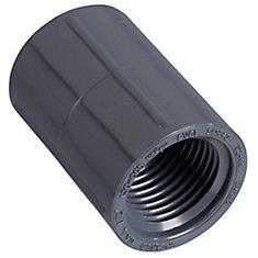 1/2 inch FNPT PVC Coupling: Grey