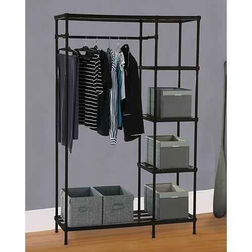 THD Generic Free-Standing Mesh Combo Closet Organizer in Matte Black