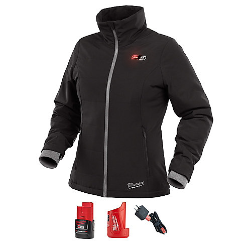 Women's Med M12 12V Li-Ion Cordless Black Heated Jacket Kit with (1) 2.0Ah Battery and Charger