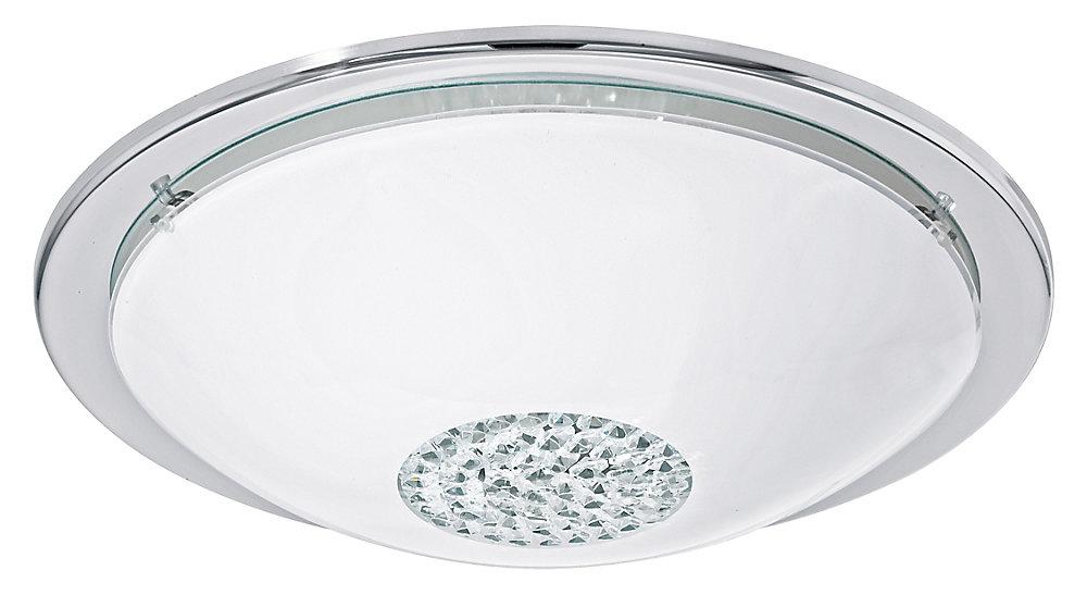 Giolina-LED Plafonnier DEL, Fini Chrome avec Verre Blanc et Cristaux Clairs