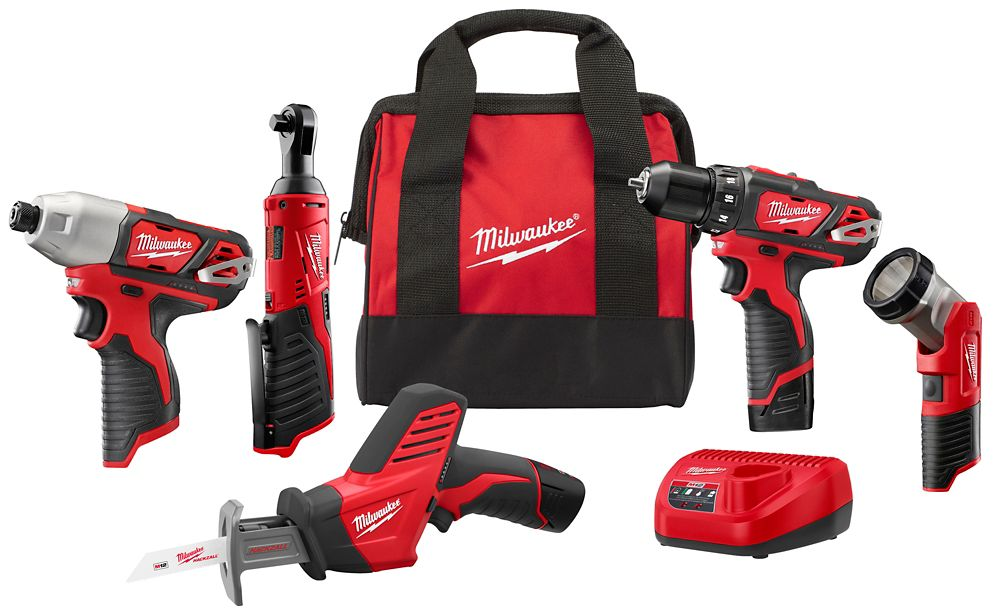 Milwaukee Tool M12 12V Lithium-Ion Cordless Combo Kit (5-Tool) w/ (2) 1.5Ah Batteries, Charger and Tool Bag 2498-25