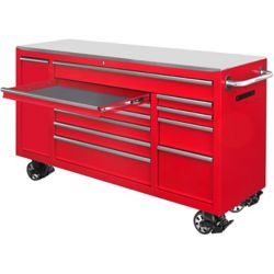 HUSKY 72 inch 12-Drawer Mobile Workbench in Red
