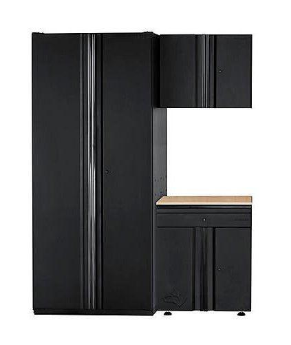 3-Piece Heavy Duty Welded 64-inch W x 81-inch H x 24-inch D Steel Garage Cabinet Set