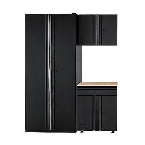 Heavy Duty Welded 64-inch W x 81-inch H x 24-inch D Steel Garage Cabinet Set (3-Piece)