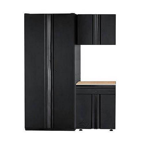 HUSKY 3-Piece Heavy Duty Welded 64-inch W x 81-inch H x 24-inch D Steel Garage Cabinet Set