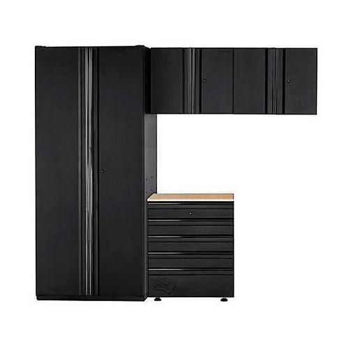 HUSKY 4-Piece Heavy Duty Welded 92-inch W x 81-inch H x 24-inch D Steel Garage Cabinet Set