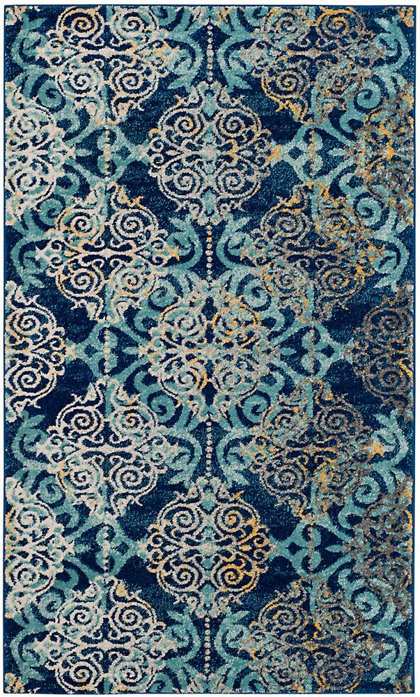 Evoke Jack Royal / Light Blue 3 ft. X 5 ft. Area Rug
