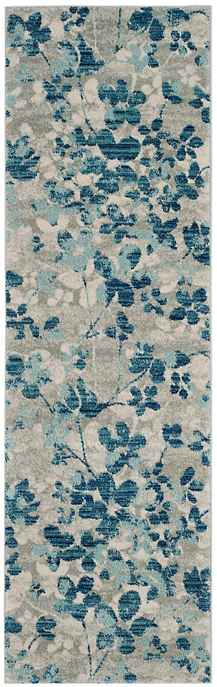 Evoke Victor Grey / Light Blue 2 ft. 2-inch X 9 ft. Runner