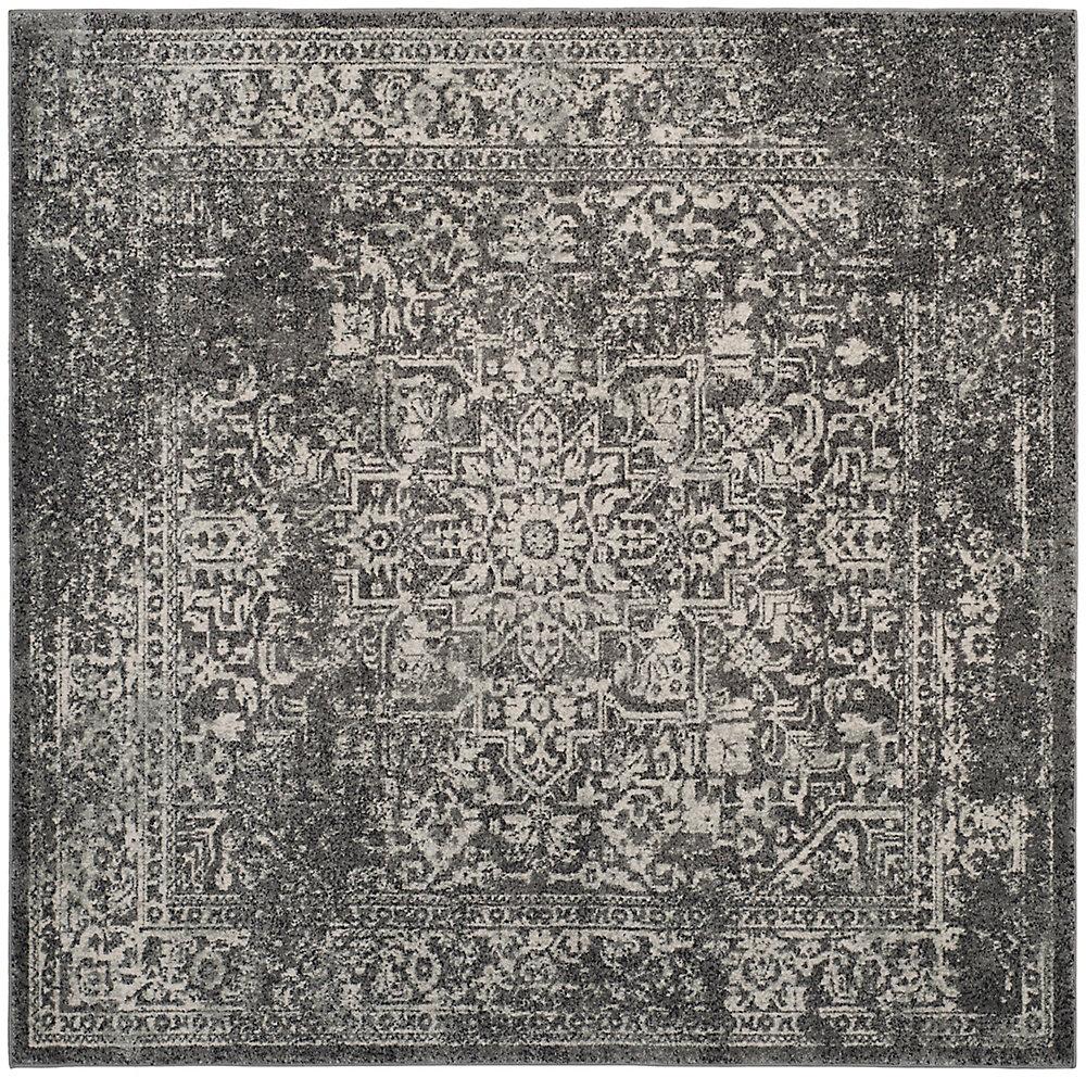 Evoke Eric Grey / Ivory 3 ft. X 3 ft. Square Area Rug