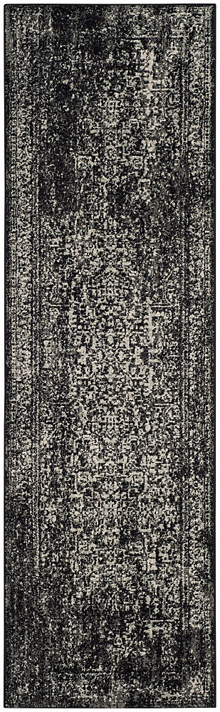 Evoke Eric Black / Grey 2 ft. 2-inch X 13 ft. Runner
