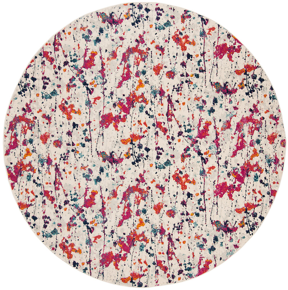 Evoke Corwin Ivory / Red 6 ft. 7-inch X 6 ft. 7-inch Round Area Rug
