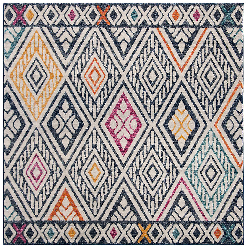 Evoke Annora Navy / Ivory 6 ft. 7-inch X 6 ft. 7-inch Square Area Rug