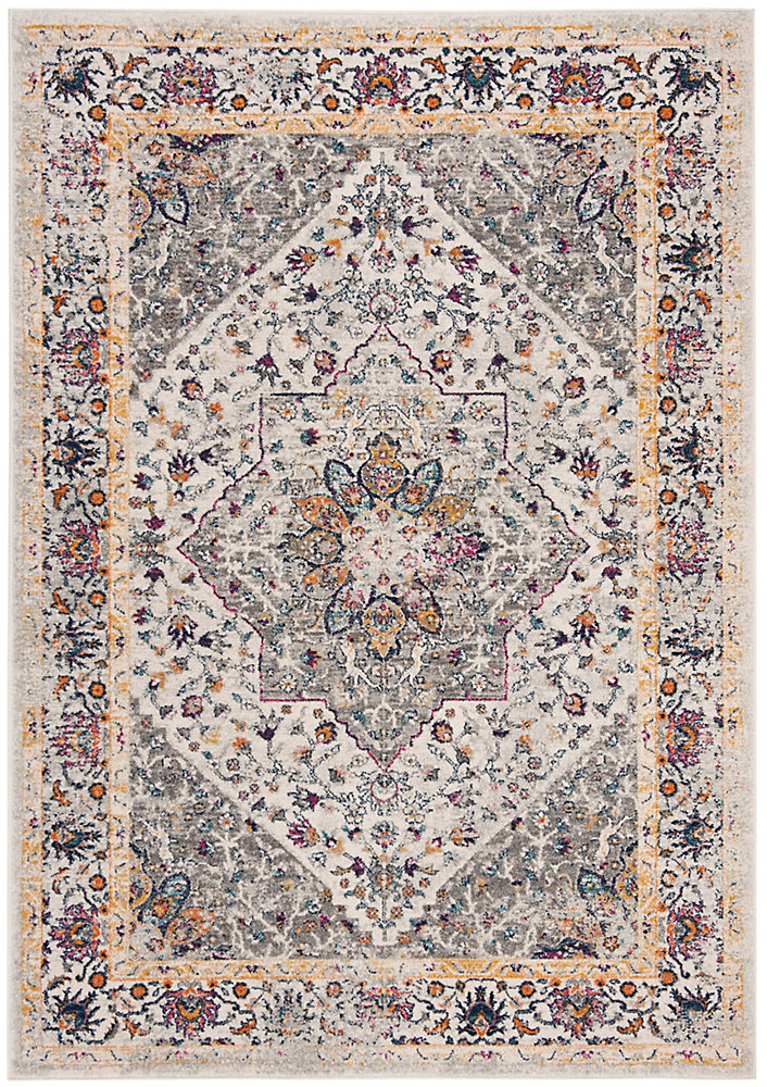 Evoke Deonte Ivory / Grey 6 ft. 7-inch X 6 ft. 7-inch Square Area Rug