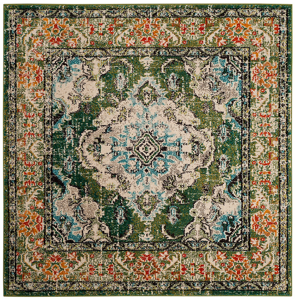 Monaco Moses Forest Green / Light Blue 5 ft. X 5 ft. Square Area Rug