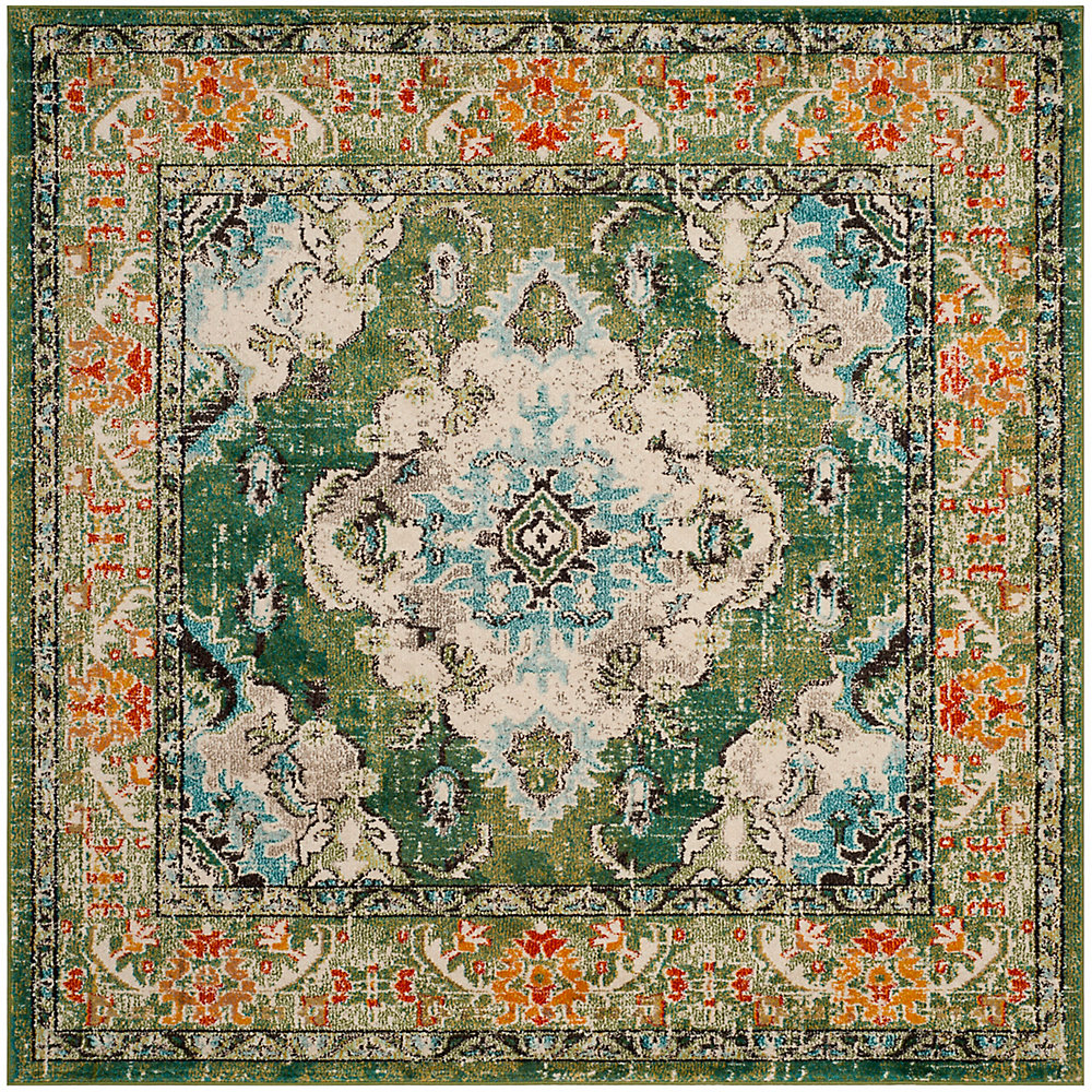 Monaco Moses Forest Green / Light Blue 6 ft. 7-inch X 6 ft. 7-inch Square Area Rug