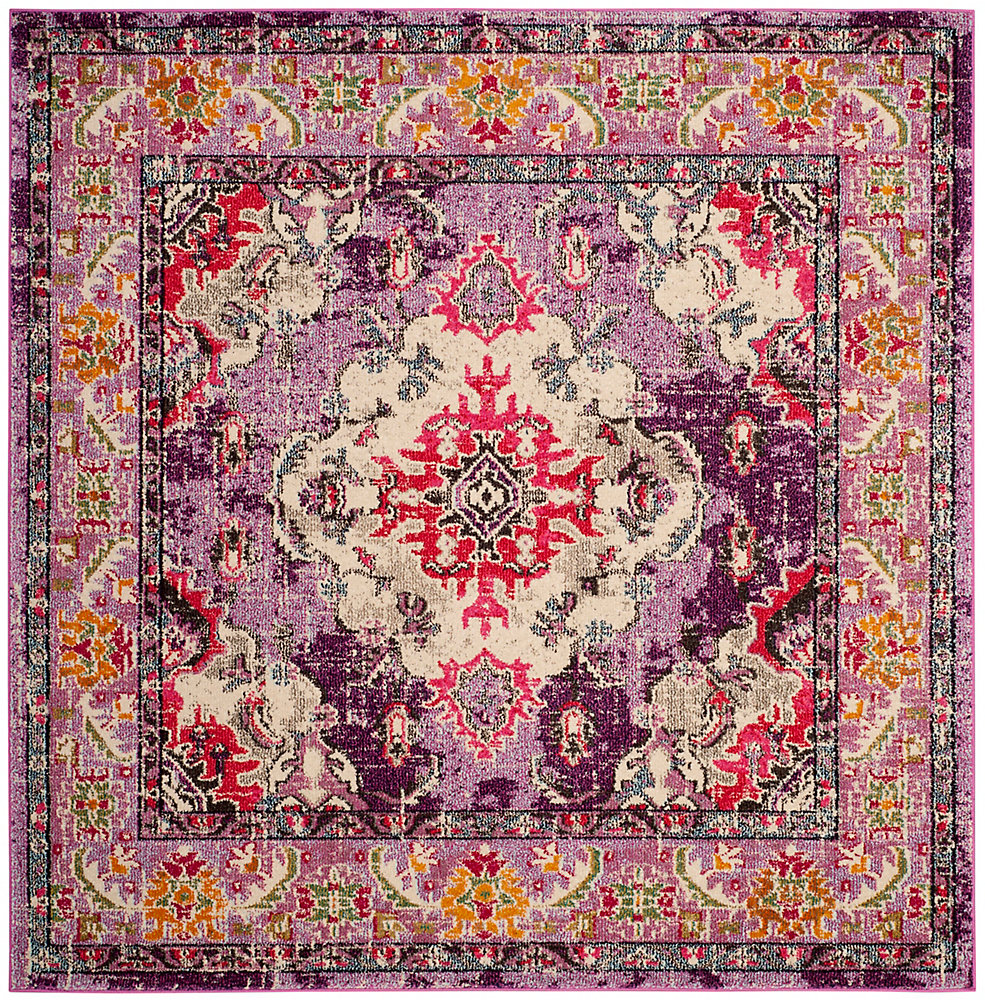 Monaco Moses Violet / Fuchsia 6 ft. 7-inch X 6 ft. 7-inch Square Area Rug