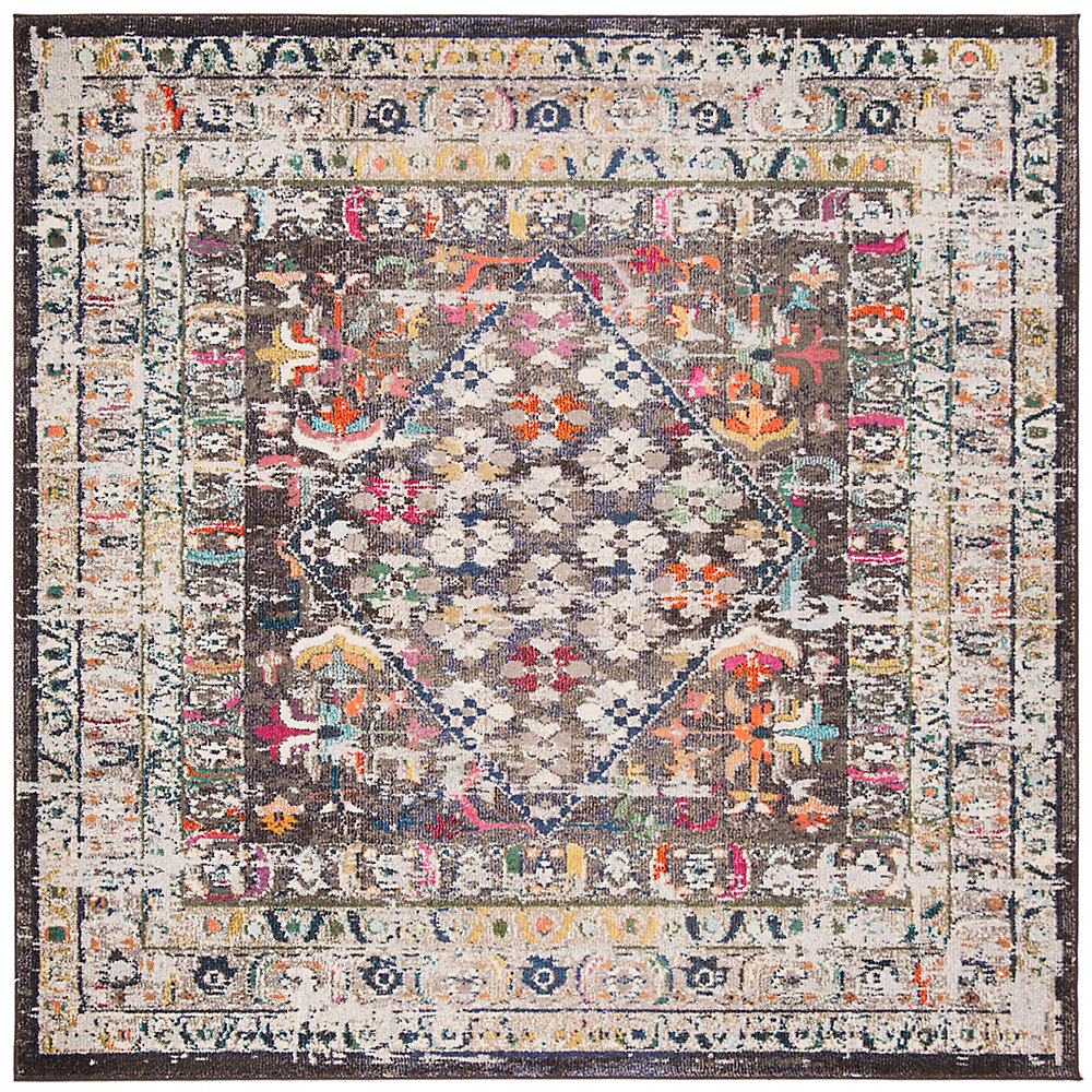 Monaco Tendrils Brown / Grey 6 ft. 7-inch X 6 ft. 7-inch Square Area Rug