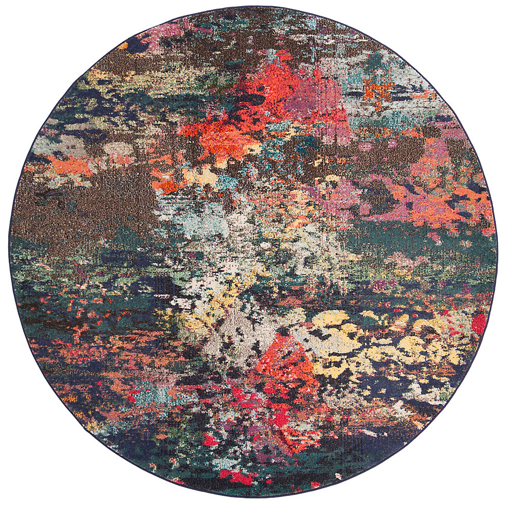 Monaco Winchester Brown / Teal 6 ft. 7-inch X 6 ft. 7-inch Round Area Rug