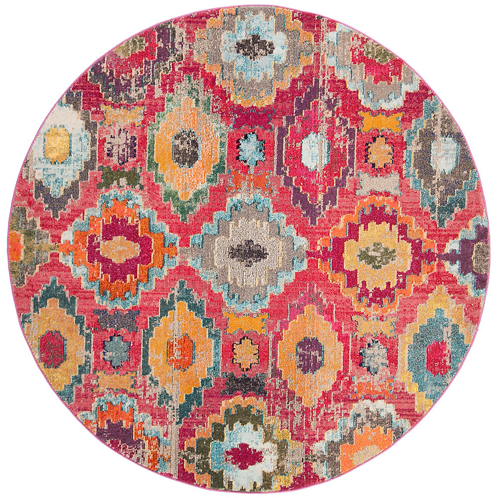 Monaco Braiden Red / Blue 6 ft. 7-inch X 6 ft. 7-inch Round Area Rug