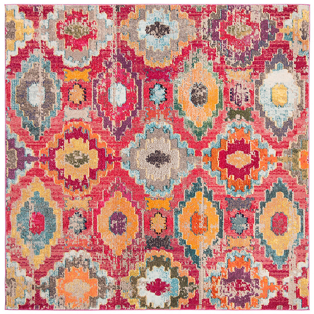 Monaco Braiden Red / Blue 6 ft. 7-inch X 6 ft. 7-inch Square Area Rug