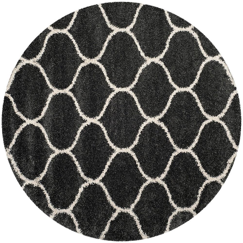 Hudson Shag Juan Dark Grey / Ivory 7 ft. X 7 ft. Round Area Rug
