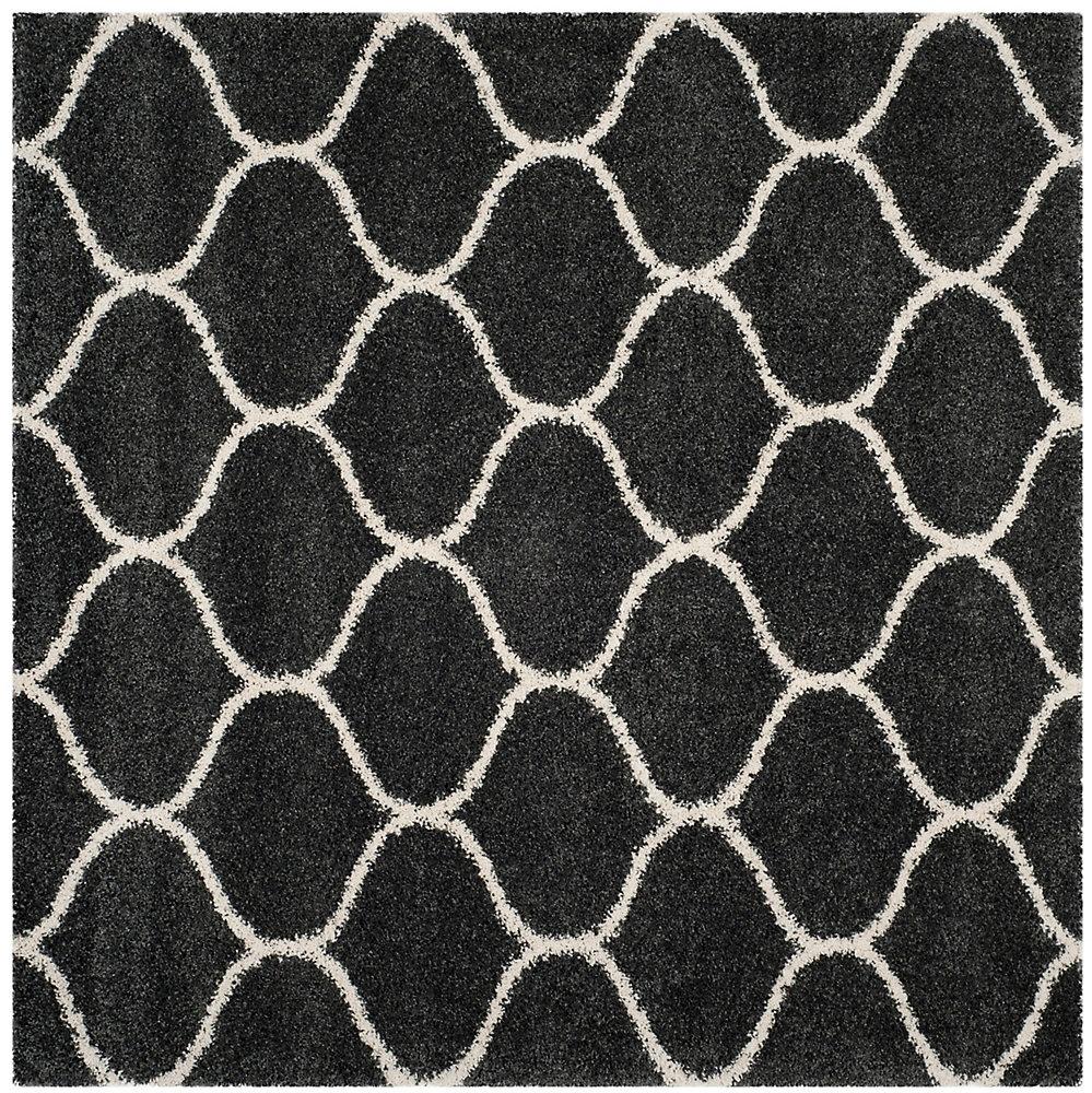 Hudson Shag Juan Dark Grey / Ivory 7 ft. X 7 ft. Square Area Rug