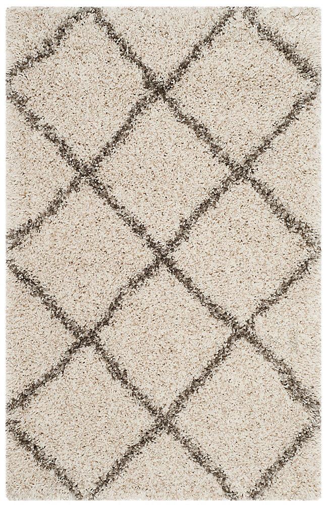 Hudson Shag Stewart Ivory / Grey 2 ft. 3-inch X 3 ft. 9-inch Area Rug