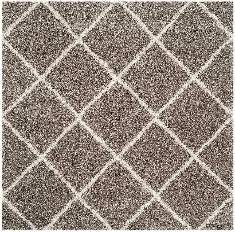 Tapis d'intérieur carré, 7 pi x 7 pi, Hudson Shag Stewart, gris / ivoire