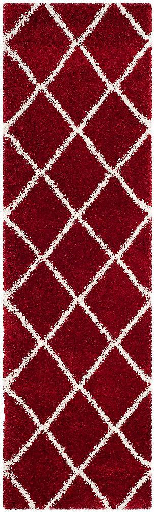 Tapis de passage d'intérieur, 2 pi 3 po x 6 pi, Hudson Shag Stewart, rouge / ivoire
