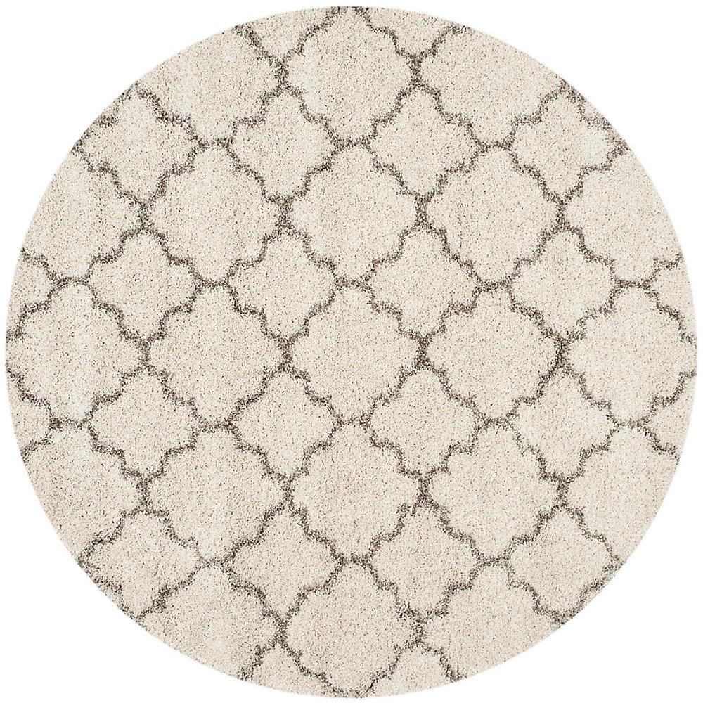 Hudson Shag Eliot Ivory / Grey 5 ft. X 5 ft. Round Area Rug
