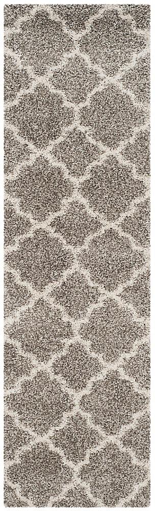 Hudson Shag Eliot Grey / Ivory 2 ft. 3-inch X 6 ft. Runner