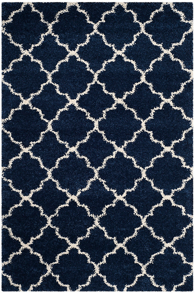 Hudson Shag Eliot Navy / Ivory 5 ft. 1-inch X 7 ft. 6-inch Area Rug