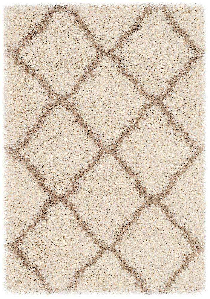 Tapis d'intérieur, 2 pi x 3 pi, Hudson Shag Francine, ivoire / beige