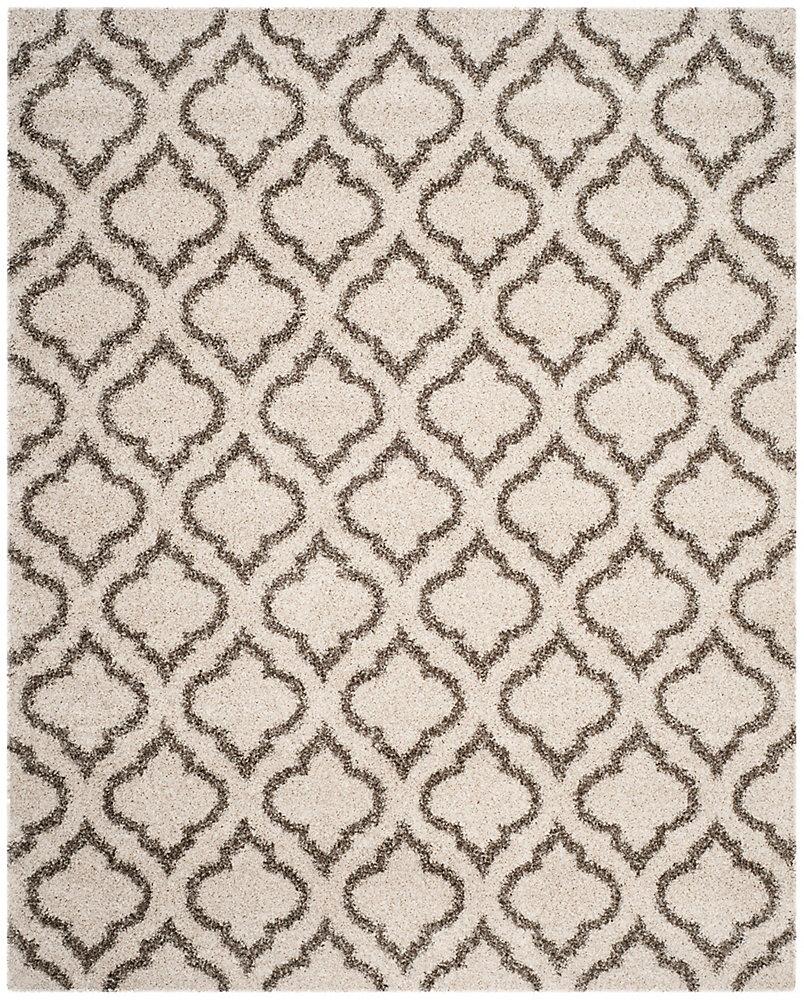 Tapis d'intérieur, 6 pi x 9 pi, Hudson Shag Searlait, ivoire / gris
