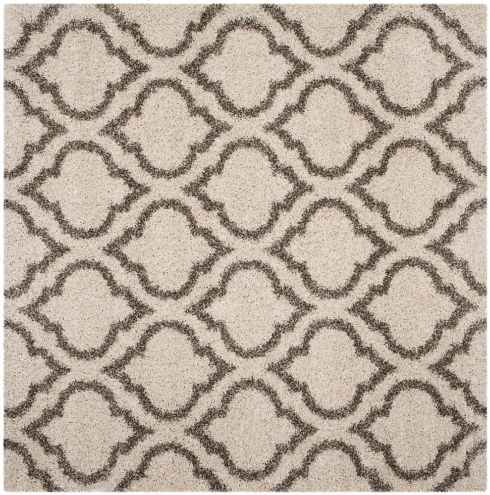 Hudson Shag Searlait Ivory / Grey 7 ft. X 7 ft. Square Area Rug