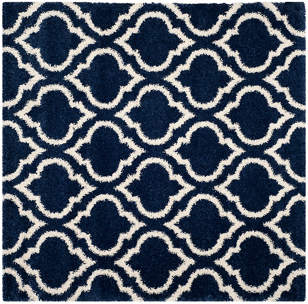 Hudson Shag Searlait Navy / Ivory 7 ft. X 7 ft. Square Area Rug