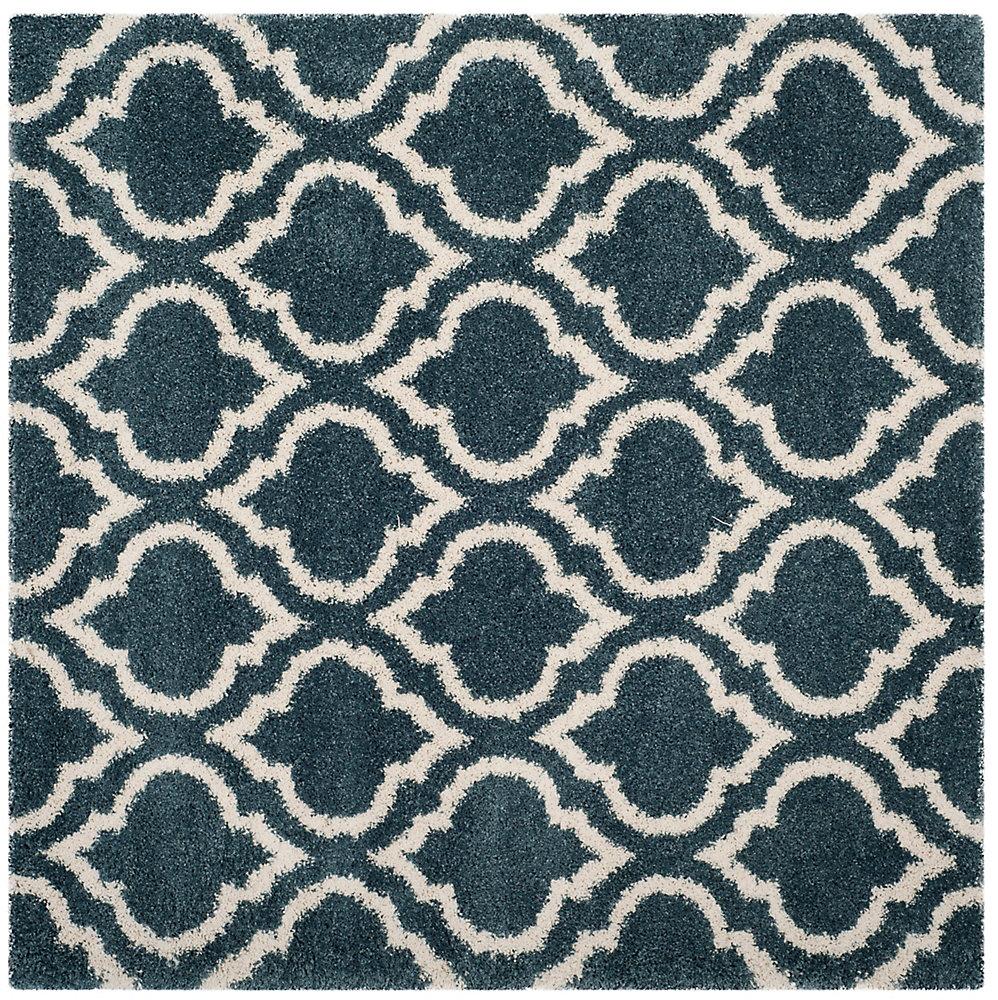 Hudson Shag Searlait Slate Blue / Ivory 7 ft. X 7 ft. Square Area Rug