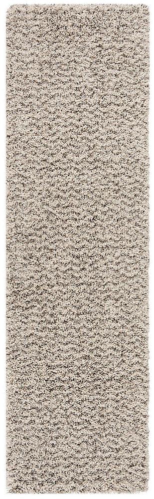 Hudson Shag Alexus Ivory / Grey 2 ft. 3-inch X 8 ft. Runner