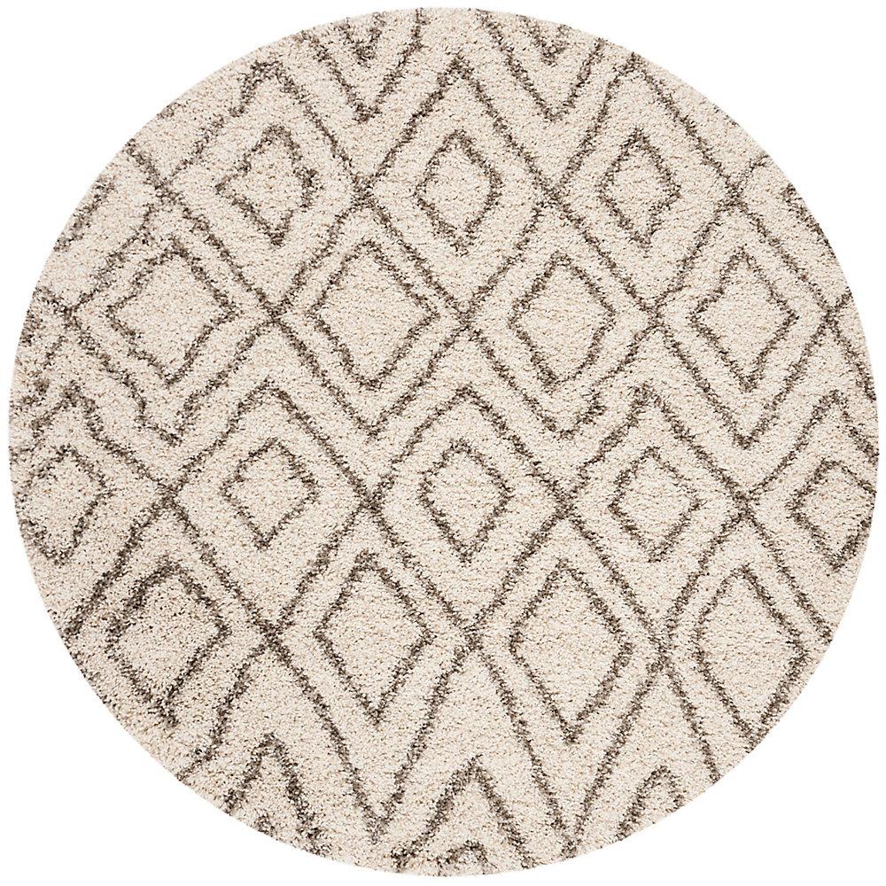 Hudson Shag Hannan Ivory / Grey 5 ft. X 5 ft. Round Area Rug