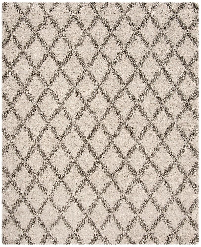 Hudson Shag Roswell Ivory / Grey 8 ft. X 10 ft. Area Rug
