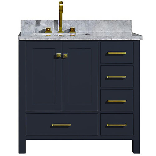 Cambridge 37 inch Left Offset Single Rectangle Sink Vanity In Midnight Blue