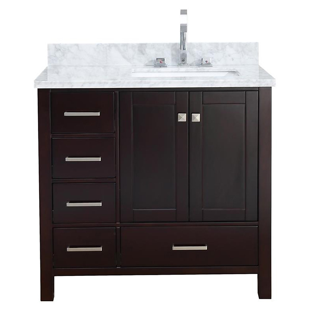 Cambridge 37 inch Right Offset Single Rectangle Sink Vanity In Espresso