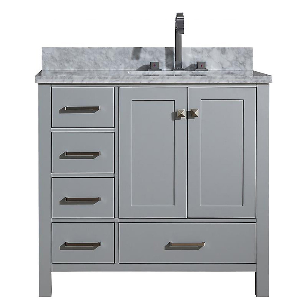 Cambridge 37 inch Right Offset Single Rectangle Sink Vanity In Grey