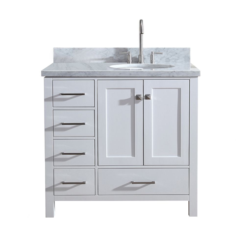 ARIEL Cambridge 37 inch Right Offset Single Oval Sink ...