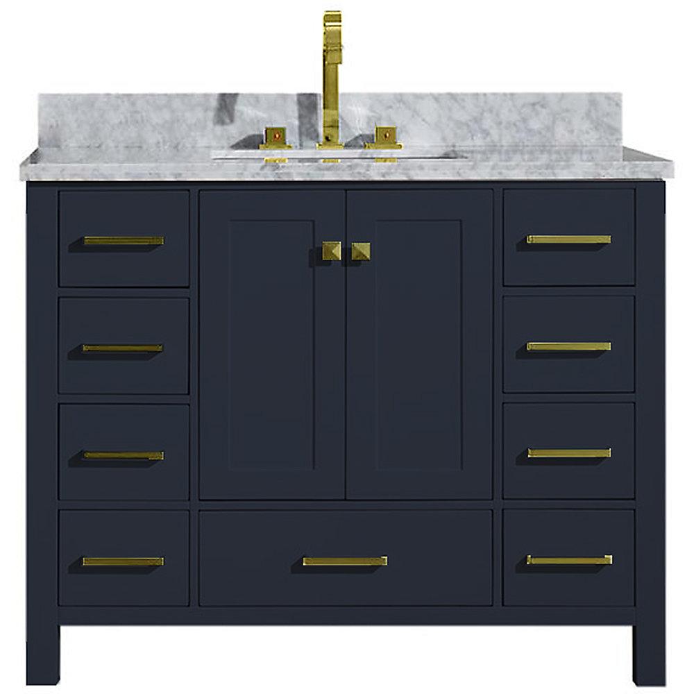 Cambridge 43 inch Single Rectangle Sink Vanity In Midnight Blue
